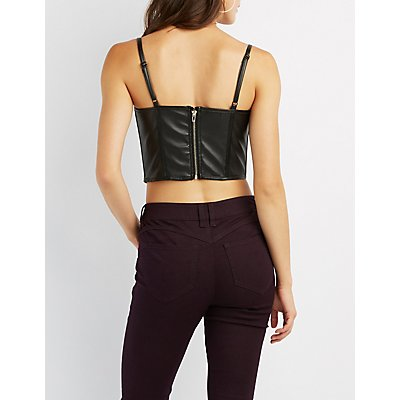Faux Leather Strappy Caged Bustier Top