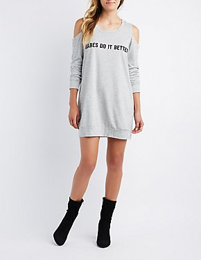 Babes Cold Shoulder Sweatshirt Dress