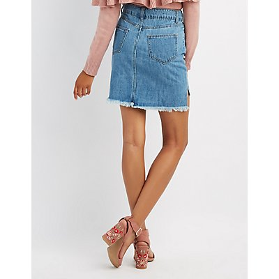 Pearl Embellished Denim Skirt