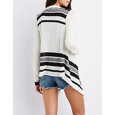Striped Cascade Cardigan