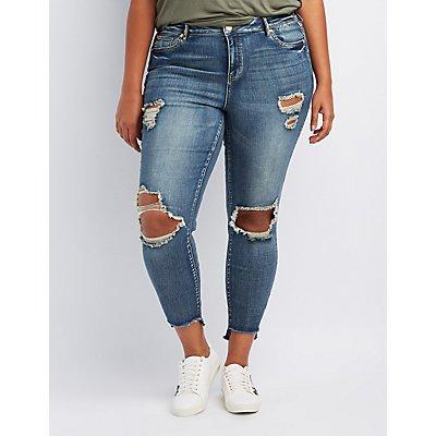 Refuge Plus Size Destroyed Step Hem Skinny Jeans