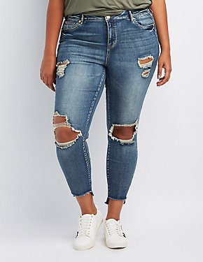 Refuge Plus Size Destroyed Step Hem Skinny Jeans