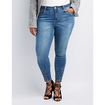 Refuge Plus Size Lace-Up Detail Skinny Jeans