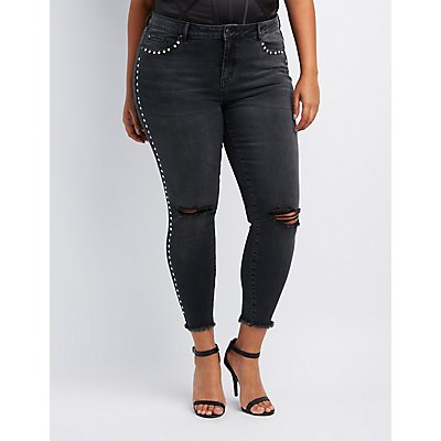 Plus Size Destroyed Studded Skinny Jeans