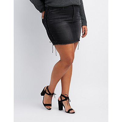 Plus Size Refuge Lace-Up Detail Denim Mini Skirt