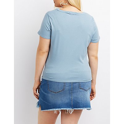 Plus Size Road Trip Cut-Out Graphic Tee