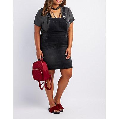 Plus Size Denim Released Hem Overall Dress