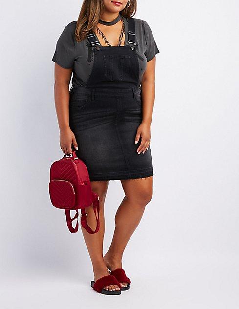 Plus Size Denim Released Hem Overall Dress | Charlotte Russe