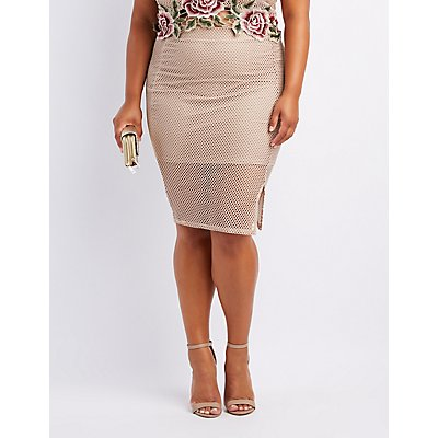 Plus Size Mesh Bodycon Midi Skirt