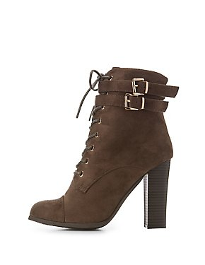 Lace-Up Block Heel Booties