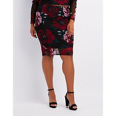 Plus Size Floral Mesh Pencil Skirt