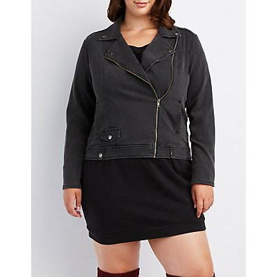 Plus Size Denim Moto Jacket