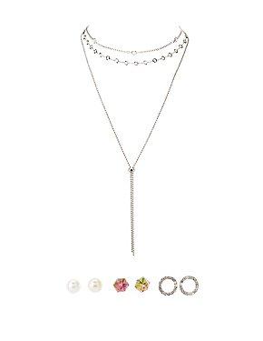 Choker Necklaces & Stud Earrings - 5 Pack