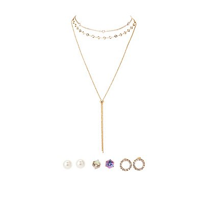 Choker Necklaces & Stud Earrings - 5 Pack
