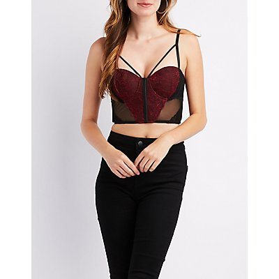 Mesh & Lace Caged Bustier Crop Top