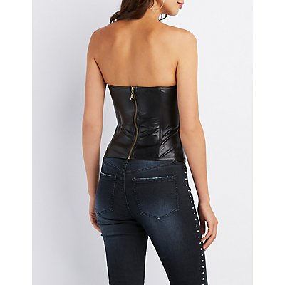 Mesh Inset Faux Leather Corset