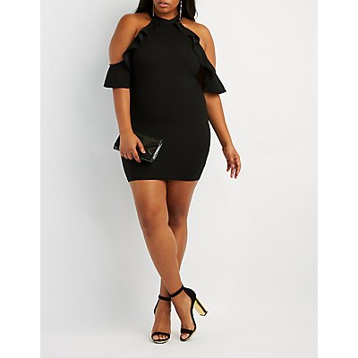 Plus Size Ruffle-Trim Cold Shoulder Bodycon Dress