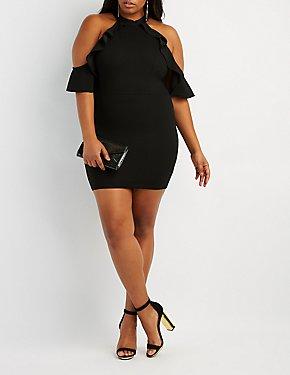 Plus Size Ruffle-Trim Cold Shoulder Bodycon Dress