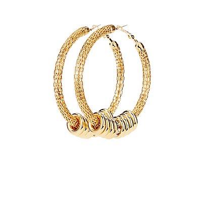 Embellished Mesh Hoop Earrings
