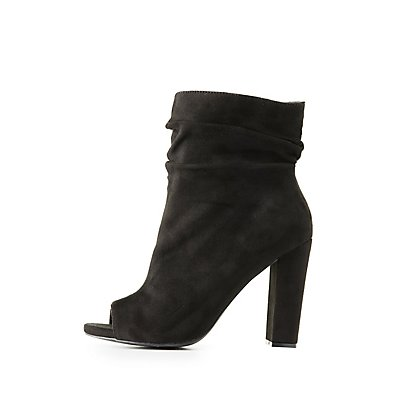 Wide Width Ruched Ankle Peep Toe Booties