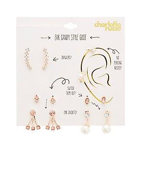 Embellished Studs, Ear Climbers & Earring Jackets - 6 Pack