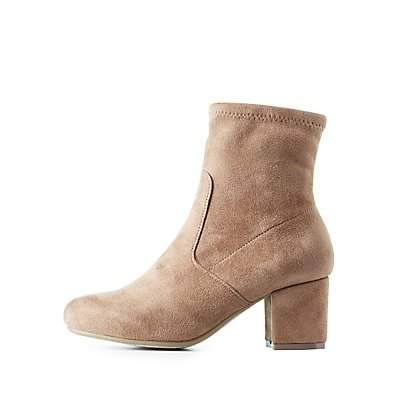 Block Heel Sock Booties