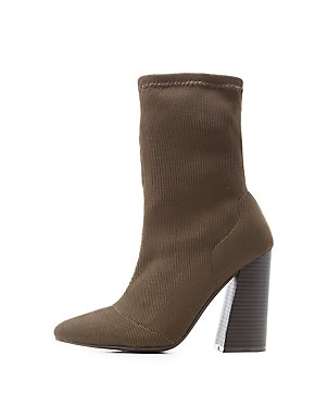 Pointed Toe Knit Sock Booties