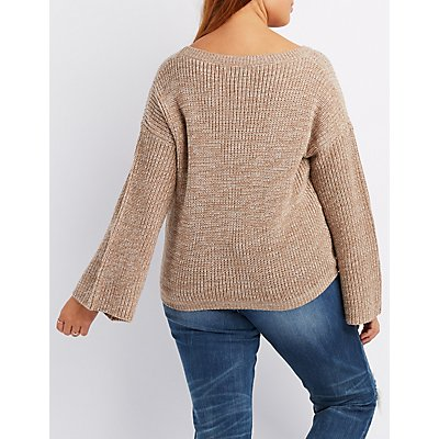 Plus Size Distressed Bell Sleeve Sweater