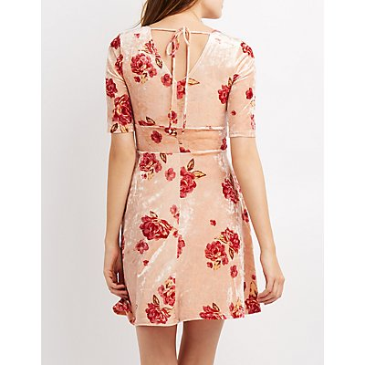 Floral Velvet Open-Back Skater Dress