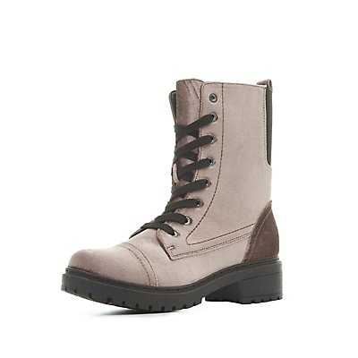 Qupid Lace-Up Combat Boots