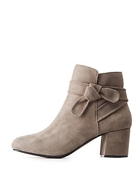 Knotted Faux Suede Ankle Booties