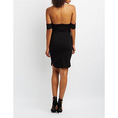 Embellished Off-The-Shoulder Bodycon Dress