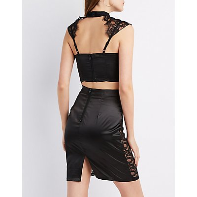 Caged Lace-Trim Mock Neck Bustier Top