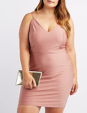 Plus Size Shimmer Knit Bodycon Dress