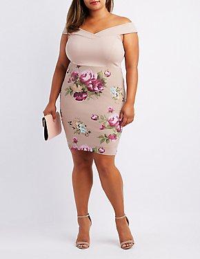 Plus Size Floral Mesh Combo Off-The-Shoulder Dress