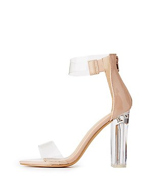 Clear Two-Piece Lucite Heel Sandals