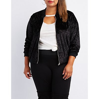 Plus Size Velvet Embroidered Bomber Jacket