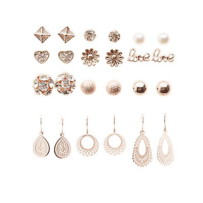 Embellished Chandelier & Stud Earrings - 12 Pack