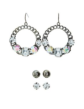 Embellished Stud & Chain Circle Earrings - 3 Pack