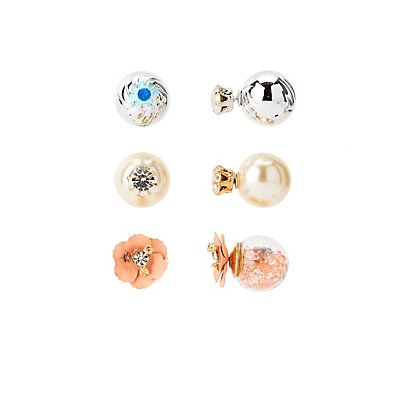 Embellished Double-Sided Stud Earrings