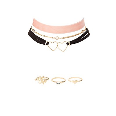 Embellished Choker Necklaces & Stacking Rings - 6 Pack