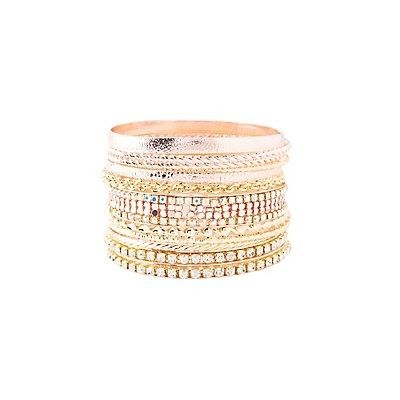 Rhinestone & Etched Metal Bangle Bracelets - 9 Pack