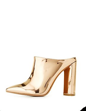 Qupid Metallic Pointed Toe Mules