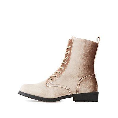 Velvet Lace-Up Combat Boots