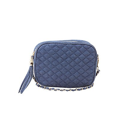 Denim Quilted Crossbody Bag