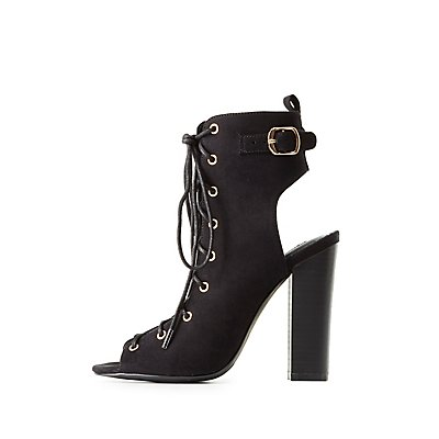 Peep Toe Lace-Up Buckle Booties