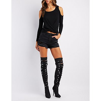 Destroyed Denim Over-The-Knee Boots