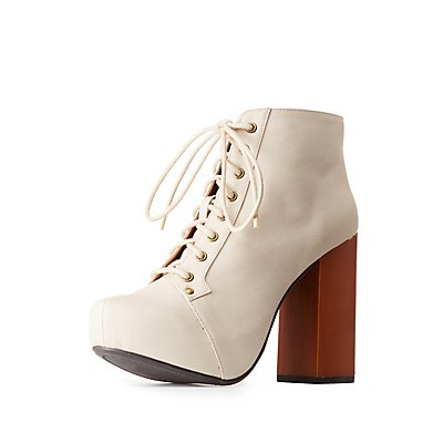 Qupid Lace-Up Platform Booties