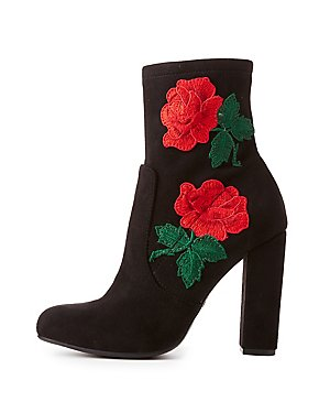 Rose Embroidered Ankle Booties