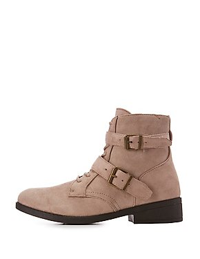 Qupid Faux Suede Buckled Ankle Booties